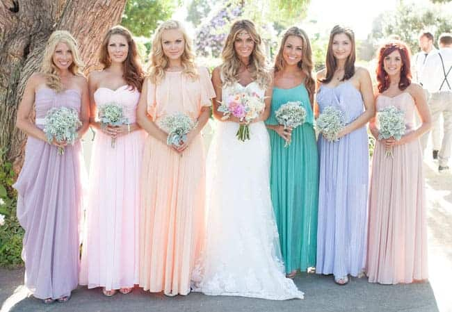 Clearwell Castle - Pastel bridesmaids dresses
