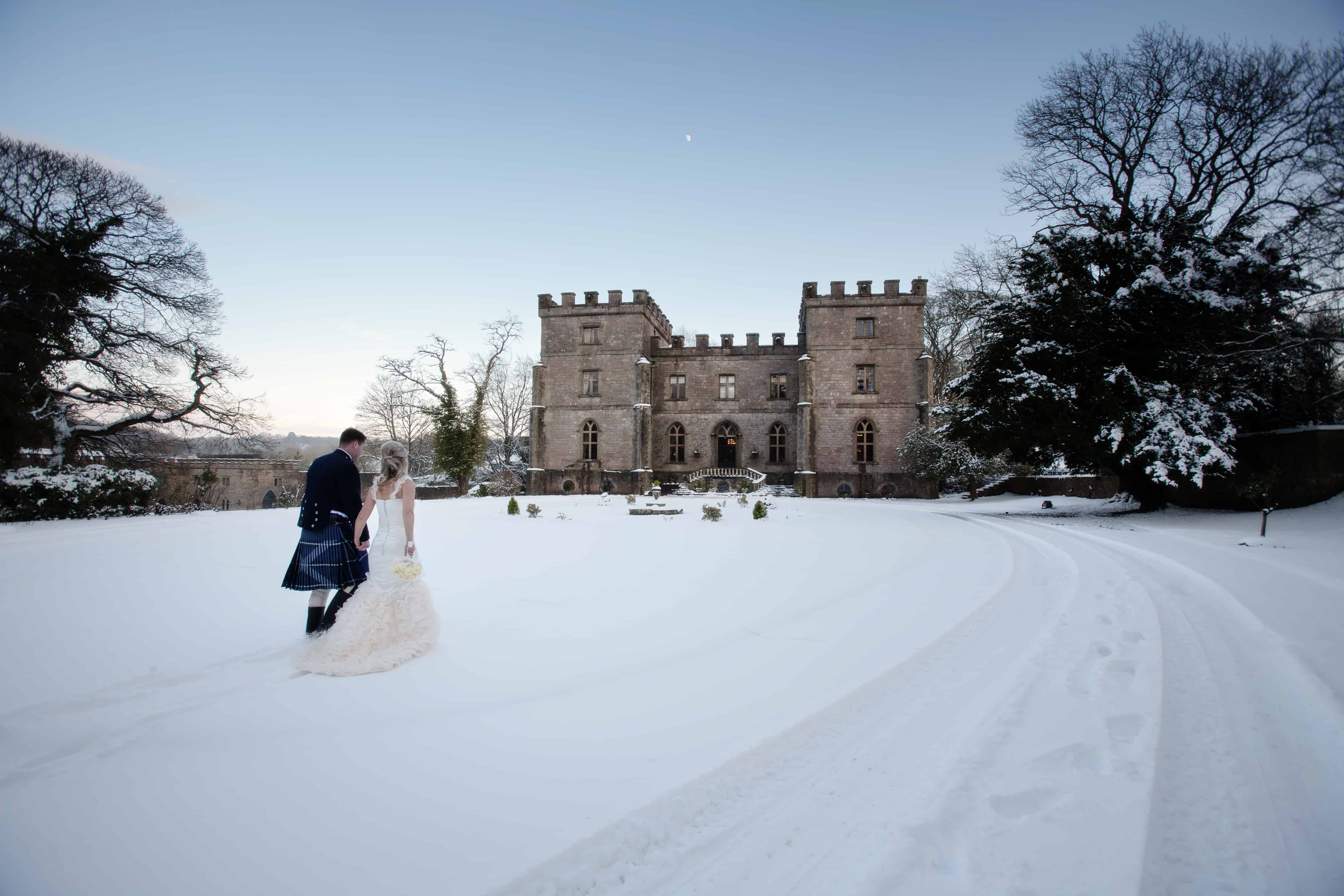 Clearwell- Castle and couple in snow
