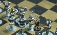Steampunk style chess pieces