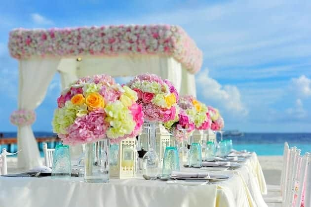 Flowers at a beach wedding