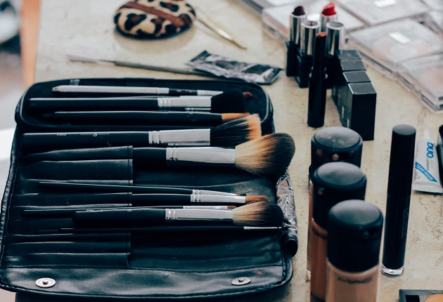 A selection of makeup and brushes