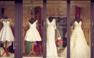 Wedding dresses in shop window