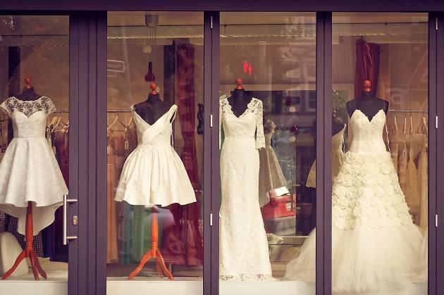Wedding dresses in shop window